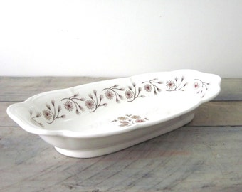 White Ironstone Serving Bowl with Floral Design Grindley
