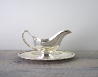 Vintage Silver Plate Gravy Boat with Attached Drip Tray