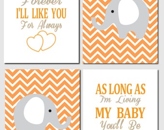 Orange Gray Nursery Art, Elephant Nursery, Baby Boy, Baby Girl, Kids Wall Art, I'll Love You Forever, Nursery Art,Baby Room,Set of 4, Prints