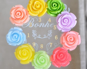 Coral Flower 15mm Rose Cabochon beads  -(SF21)/ 10pcs