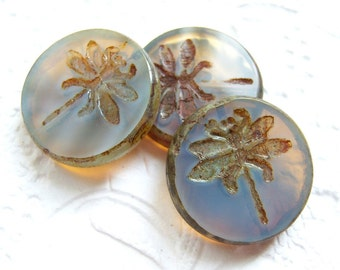Czech carved  picasso dragonfly blue opal coin bead, lot of (1) - BL100