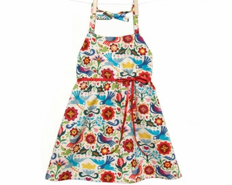 Girl's Halter Dress | Mexican Girls Dress | Doves and Flowers Dress