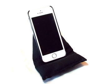 Black Smart Phone and iPod Pillow Stand