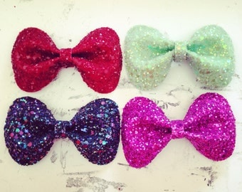 Pair of Hair Bow Clips, Glitter, Hair Accessories, Cute Kawaii Bows