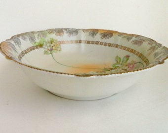 Antique RPM Germany Serving Bowl White Hydrangeas Cream Satin Finish/Vintage China/Serveware/Entertaining