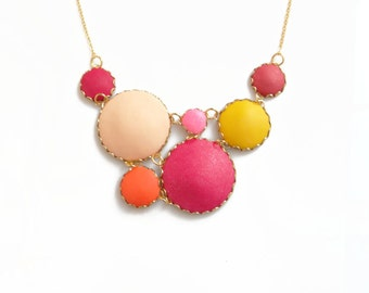 Pink Red Statement Necklace, Bubble Necklace in Peach, Pink, Yellow, Red - Color Dot Collection - Handmade Polymer Clay Necklace