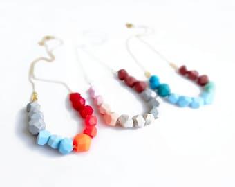 Geometric Polymer Clay Necklace,  Handmade Polymer Clay Necklace, Geometric Polymer Clay Jewelry