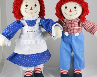 Made to Order Handmade 25in. Raggedy Ann OR Raggedy Andy Doll, Personalize. Earth friendly materials available too.