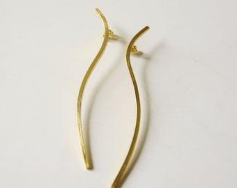 24ct gold plated organic wire bronze earrings geometry earrings