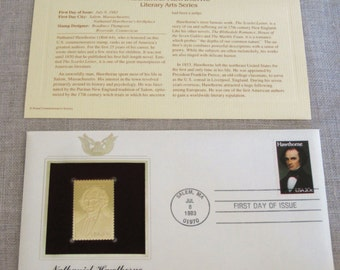 First Day Issue , Stamp , Nathaniel Hawthorne , Gold Stamp , Commemorative Stamp , Postage Stamp , Collectible , Stamp Collecting , Stamps
