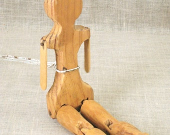 Vintage Primitive Wooden Folk Art Doll, Antique, Dancing Toy, Handmade, Articulated, Hand Carved, Wood Carvings