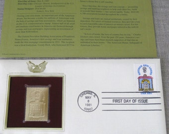 First Day Issue , Stamp , Banking , Gold Stamp , Commemorative Stamp , Postage Stamp , Collectibles , Scrapbooking , US Stamps , Postal