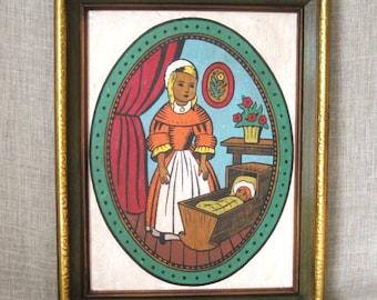 Female Portrait , Folk Art Painting , Child Portrait , Folk Art Portrait , Handmade , Original , Art , Girl , Vintage Art , Oval , Framed