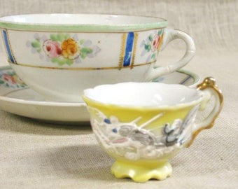 Vintage Tea Cup, Set, Collectible, Cup and Saucer, Miniature Tea Cup, Japan, Nippon, Coffee, Hand Painted,Fine China Teacup