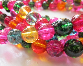 Quartz Beads 6mm Sparkling Multicolored Smooth Rounds- 15 inch Strand