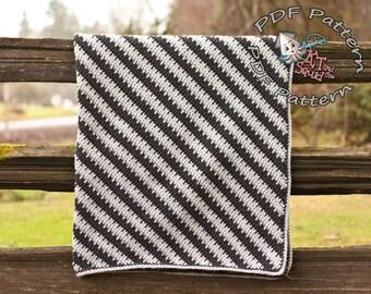 Crochet afghan pattern, diagonal stripe blanket pattern, crochet blanket pattern, throw pattern, easy crochet stripe pattern okay to sell