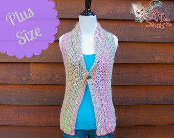 Crochet Pattern, Womens plus size top pattern, Crochet vest pattern,, Collared vest, instant download, one piece, easy crochet pattern