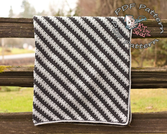 Crochet Afghan Pattern Diagonal Stripe Blanket Pattern