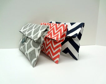 READY TO SHIP Set of 3 Cosmetic Bags in Coral Navy and Gray