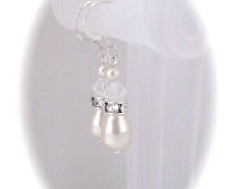 Bridal earrings pearl jewelry wedding jewelry bridesmaid earrings