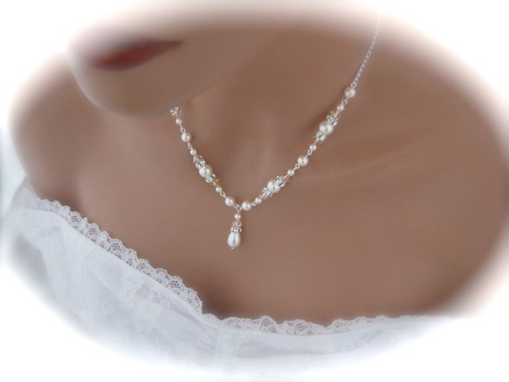 Ivory Pearl Necklace Wedding Jewelry By Clairesparklesbridal