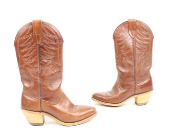 Vintage 70s Cowboy Boots Brown Leather Stacked Heels Western Womens 5.5 Shoes Hippie 1970s Country Prairie