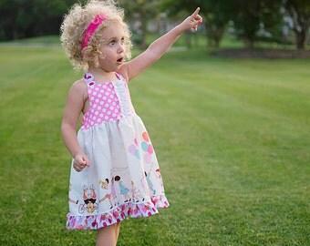Michael Miller Children At Play On Parade Girl's Halter Dress Birthday Dress Party Dress