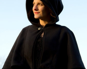 Capelet - Black Capelet - Wool Capelet  - Hooded Capelet - Capelet with Hood