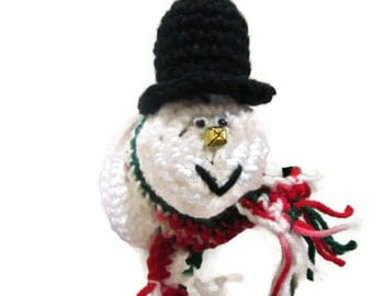 Snowman Doorknob Cover Crochet, Christmas Snowman Decoration, Jingle Bell Snowman