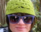 Crocheted LIme Green Beanie