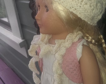 American Girl Downton Abbey Style Crocheted Cream  Colored Beret Set