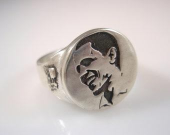Barak Obama Portrait Sterling Silver 925 Ring by EZI ZINO