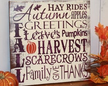 FALL Sign/Subway Style/Autumn/Typography/Fall Decoration/Wood Sign/Hand painted/Wood Sign/Plum/Orange/Holiday Decor