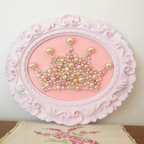 Shabby chic princess crown wall art mosaic pastel pink ornate - Princess party wall decorations ...