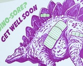 SALE - Letterpress Get Well Soon card - Dino-sore - 60% off