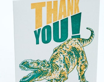 SALE - Letterpress Thank You Card - Dino Thanks- 60% off