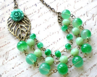 Tropical Jewelry Green Statement Necklace Tropical Necklace Flower Summer Necklace Green Jungle Jewelry Multi Strand Necklace Summer Jewelry