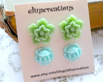 Turquoise Green Earrings Floral Post Earrings Green Flower Earrings Flower Girl Earrings Aqua Jewelry Summer Post Earring Green Stud Earring