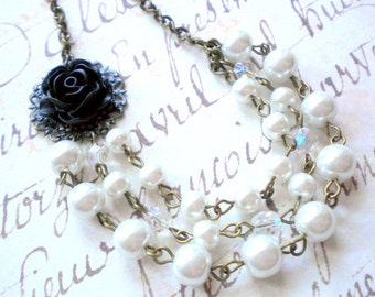 Bachelorette Party Gift Layered Pearl Necklace Black Rose Necklace Bridesmaid Gift Flower And Pearl Wedding Jewelry Maid Of Honor Necklace