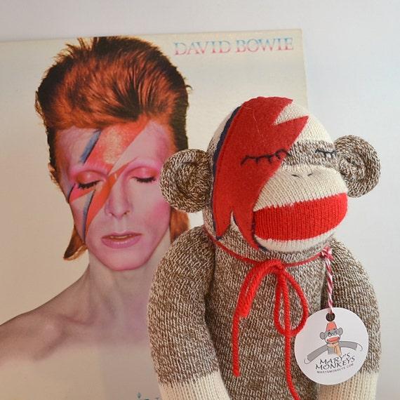 Sock Monkey Doll, Ziggy Star Sock Monkey, Bowie Inspired