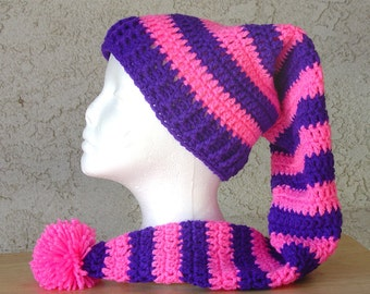 Handmade Crochet SRA Long Stocking Beanie Cap Hat  Neon Pink Purple
