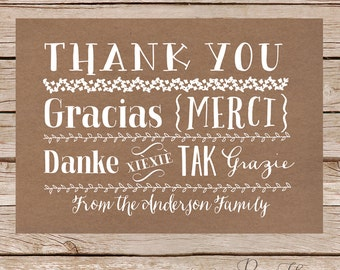 Wedding thank you cards / Thank you card / Thank you notes / Bridal shower thank you / multi lingual /  printable digital file