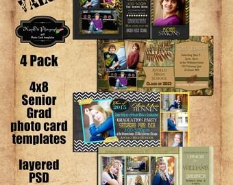 INSTANT DOWNLOAD Personalities Value Set of 4  4x8 Senior Graduation Announcement Templates/PSD files