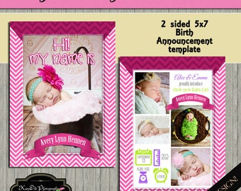 INSTANT download Iconic PINK 5x7 Birth Announcement Template/PSD file Set