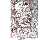 Zombie Tangle skull digi