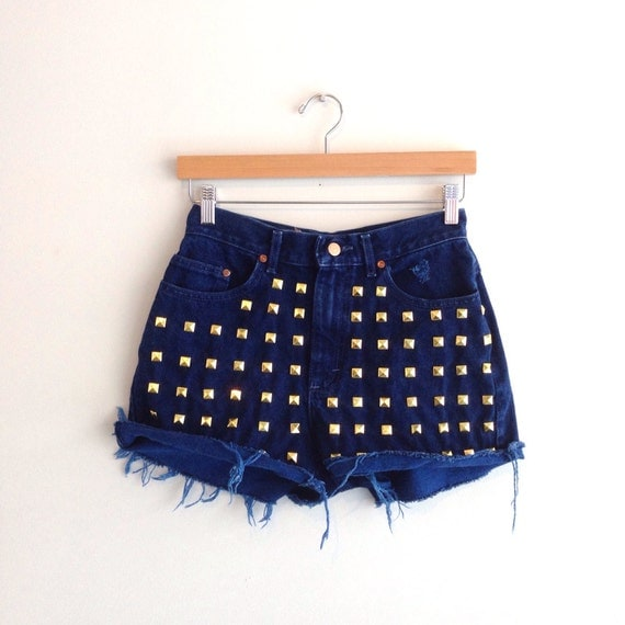 Studded High Waisted Denim Shorts Cut Offs Size XS