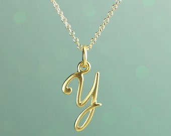 Personalized Initial Necklace, Matte Gold Cursive Initial, Free US Shipping