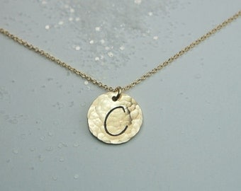 Hammered Gold Disc Necklace with a Custom Initial, Free US Shipping