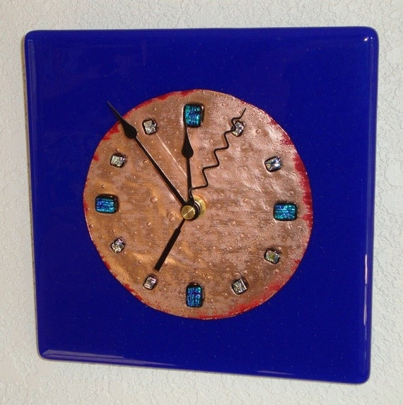 Reserved for m sutherland fused glass copper wall clock for Fused glass wall clocks