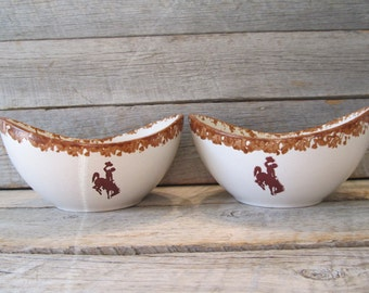 Set of 2 Wyoming Cowboys Oval  Bowls, officially licensed